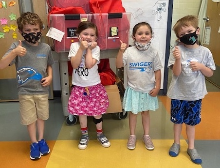 Nora and her classmates with completed Activity Care Bags